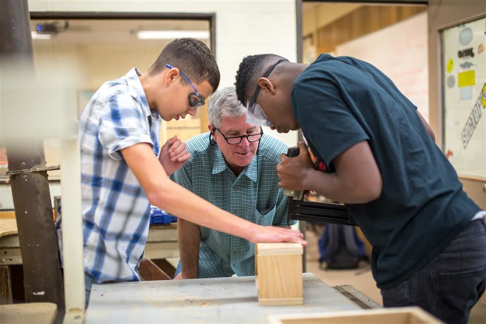 Students working on a carpentry project