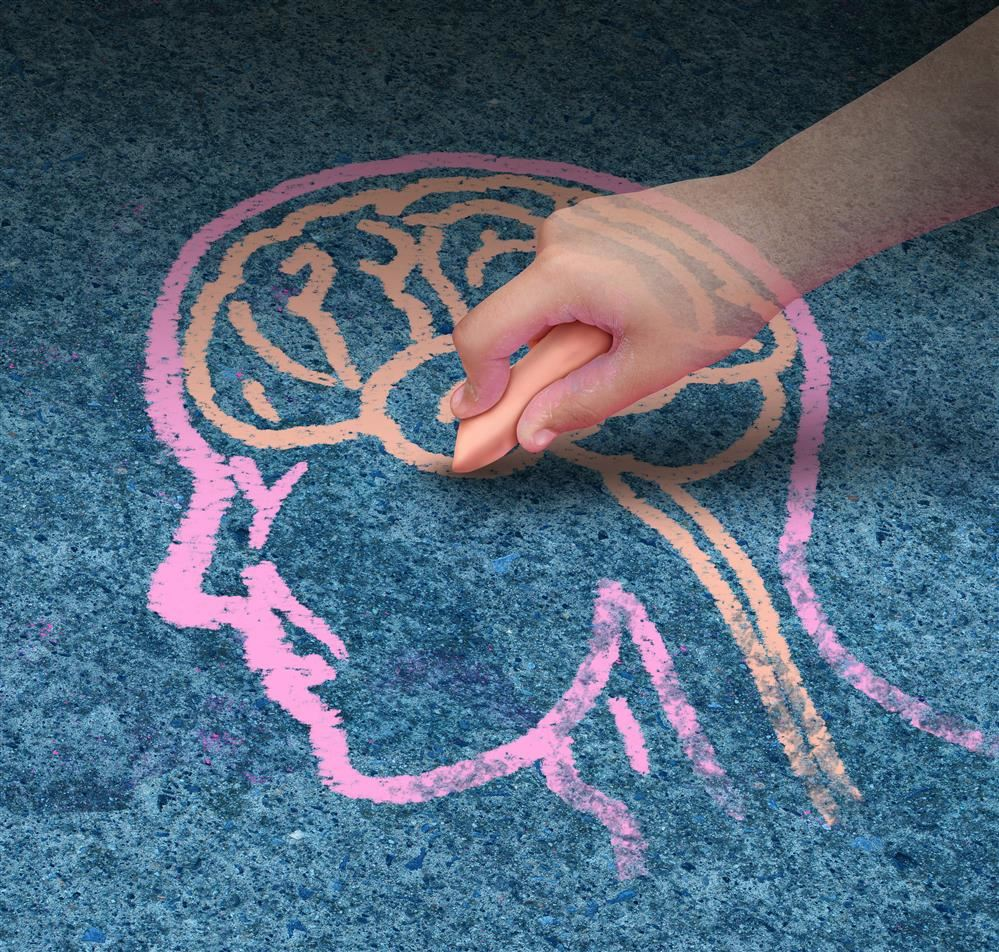 Chalk Outline Drawing of Human and Brain
