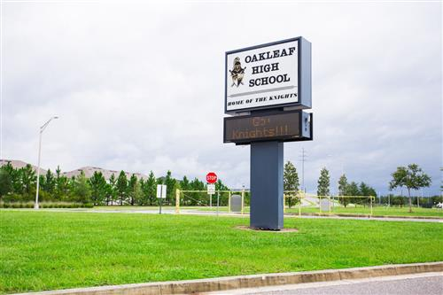Sign of Front of Oakleaf High School